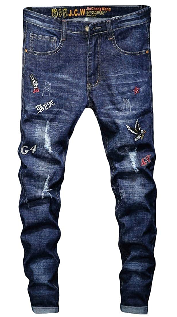 Fieer Mens Embroidered Fashionable Chinese Style Pocket Ripped Hole Jeans