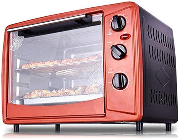 QPSGB Horno Herramientas De Cocina Domésticas Multifunción Horno Eléctrico Horno Horno Grande 30 litros 1500W Bronce Rojo Negro: Amazon.es