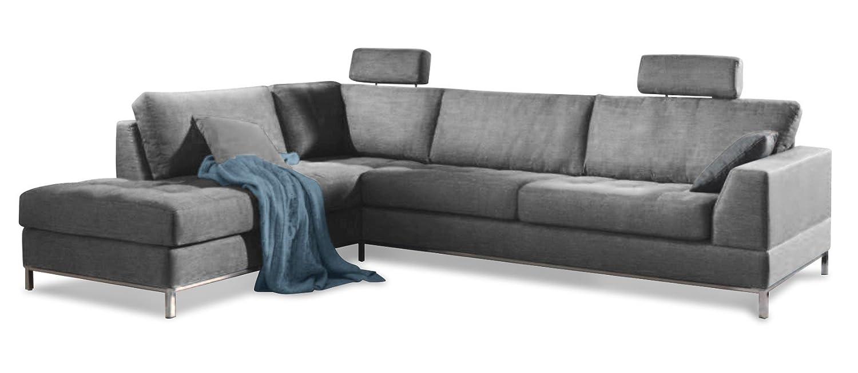 Sofa-Eckgarntur KÖNIGDROSSELBART in einem Mischgewebe mit Baumwollanteil Stoff Beauty mittelgrau