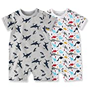 Baby Boys Girls Bodysuit Short Sleeves Infant Toddler Cotton Rompers Pack of 2