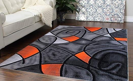 Masada Rugs, Modern Contemporary Area Rug, Orange Grey Black 8 Feet X 10 Feet