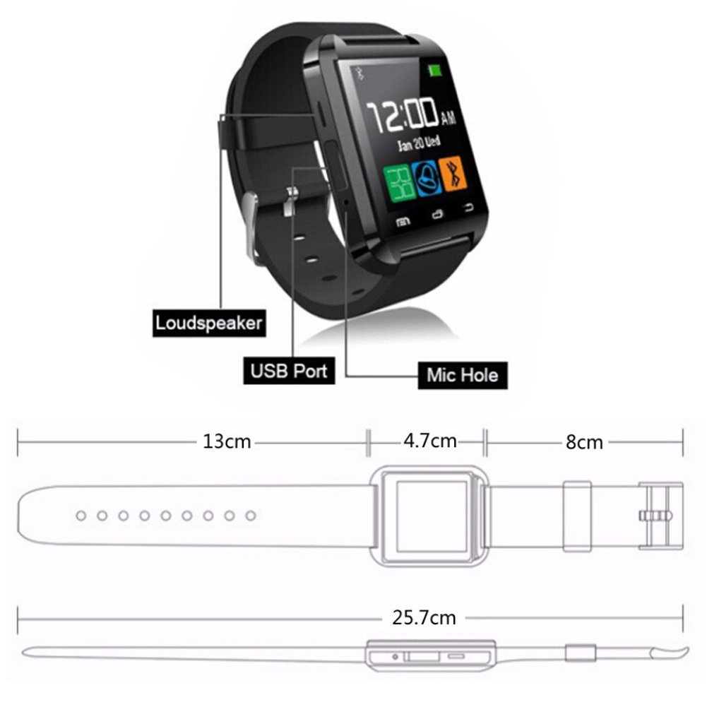 DOESIT Touch Screen Smartwatch U8 Bluetooth Smart Watch for Samsung Galaxy HTC Nexus Sony LG Huawei Android Smartphones by DOESIT (Image #2)
