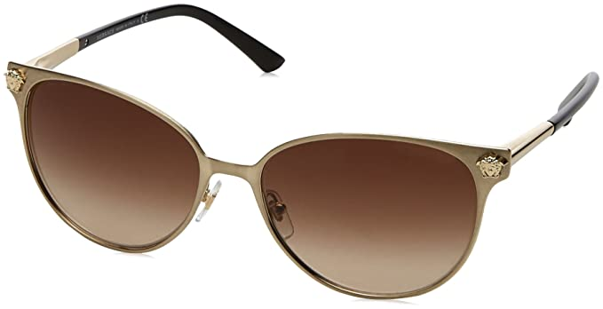 6d6b6137725 Versace Womens Sunglasses (VE2168) Gold Brown Metal - Non-Polarized - 57mm