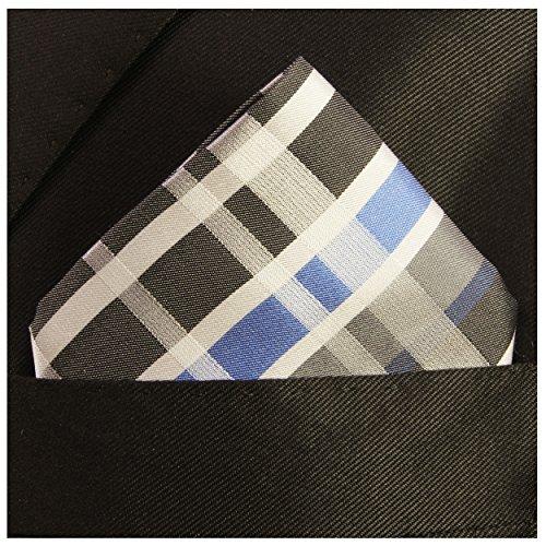 Paul Malone de carré de poche mouchoir 100% soie Bleu carreaux