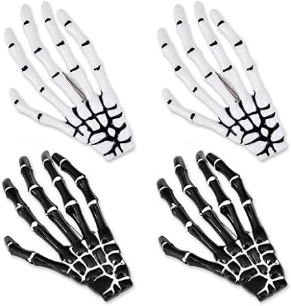 2PCS New Zombie Halloween Hair Clips Ghost Skeleton Hand Bone Claw Hairpin UK~