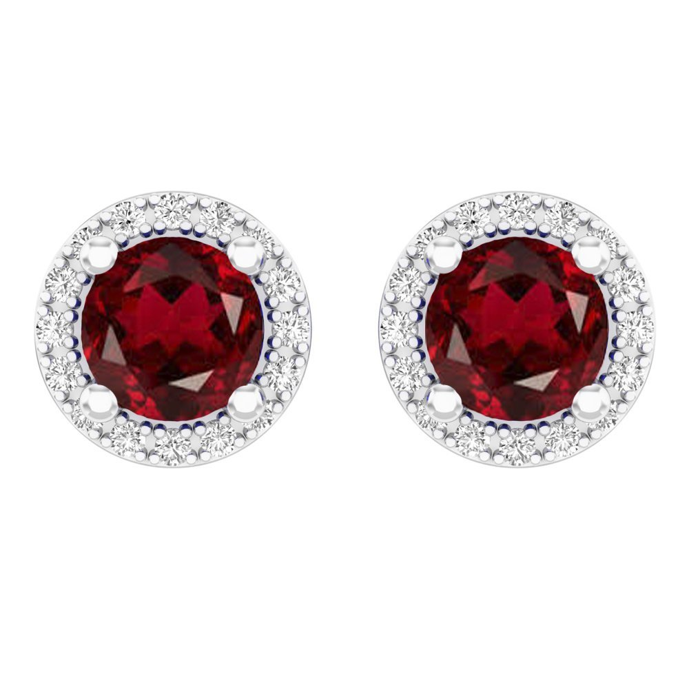 14K White Gold Round Red Garnet & White Diamond Ladies Halo Style Stud Earrings 2 CT