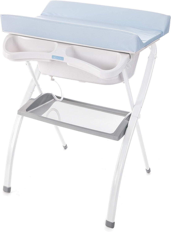 Bañera alta Spalsh ZY Baby - compacta con cambiador, baño para bebes, asiento anatómico - Zippy (Azul Claro) - Nuevo Modelo!