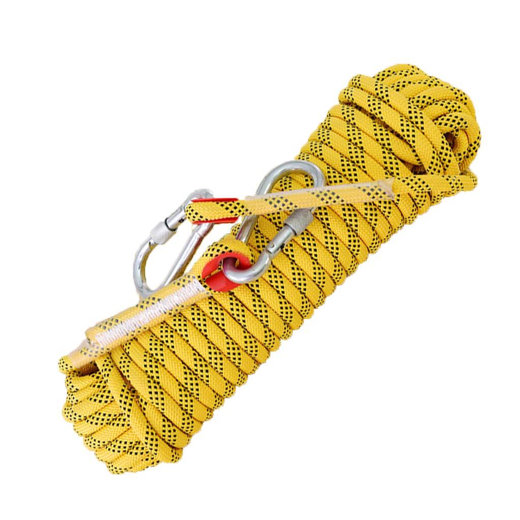 Jaune LINLIM 12mm Escalade Corde Alpinisme Corde Porter La Corde De Sécurité Haute Altitude en Plein Air évasion Feu Corde Lifeline Nylon Orange-12mm20m 12mm15m