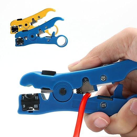 Universal para pelar y cortar herramienta para RG59/6/11/7, UTP y STP, categoría 5 4P/6P/8P Cables planos y redondos profundidad de hoja ajustable: Amazon.es: Industria, empresas y ciencia