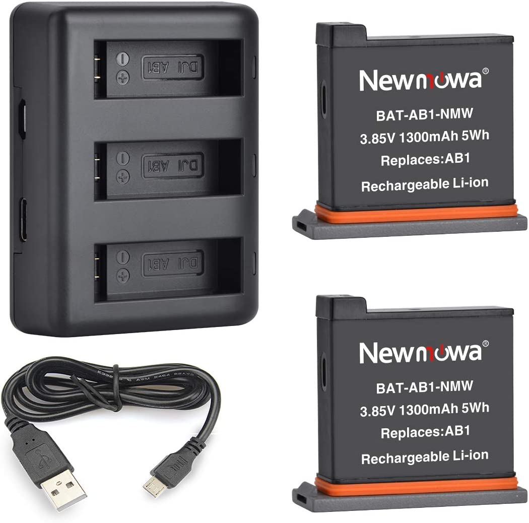 Newmowa Replacement Battery (2-Pack) and Rapid 3-Channel Charger for DJI OSMO Action Camera