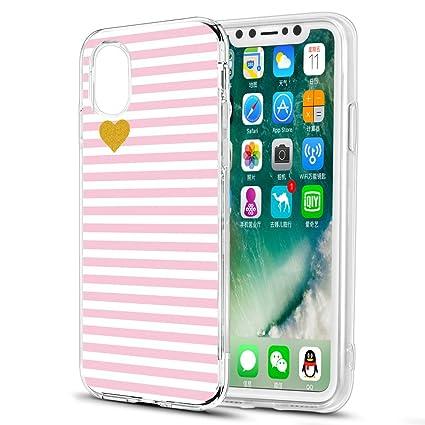 6f3a47b13f4 Eouine Funda iPhone XS, Funda iPhone X, Ultrafina Cárcasa Silicona 3D  Transparente con Dibujos