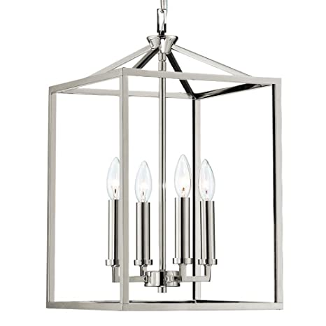 Langdon mills graff 4 light 12 polished nickel foyer island chandelier pendant candle