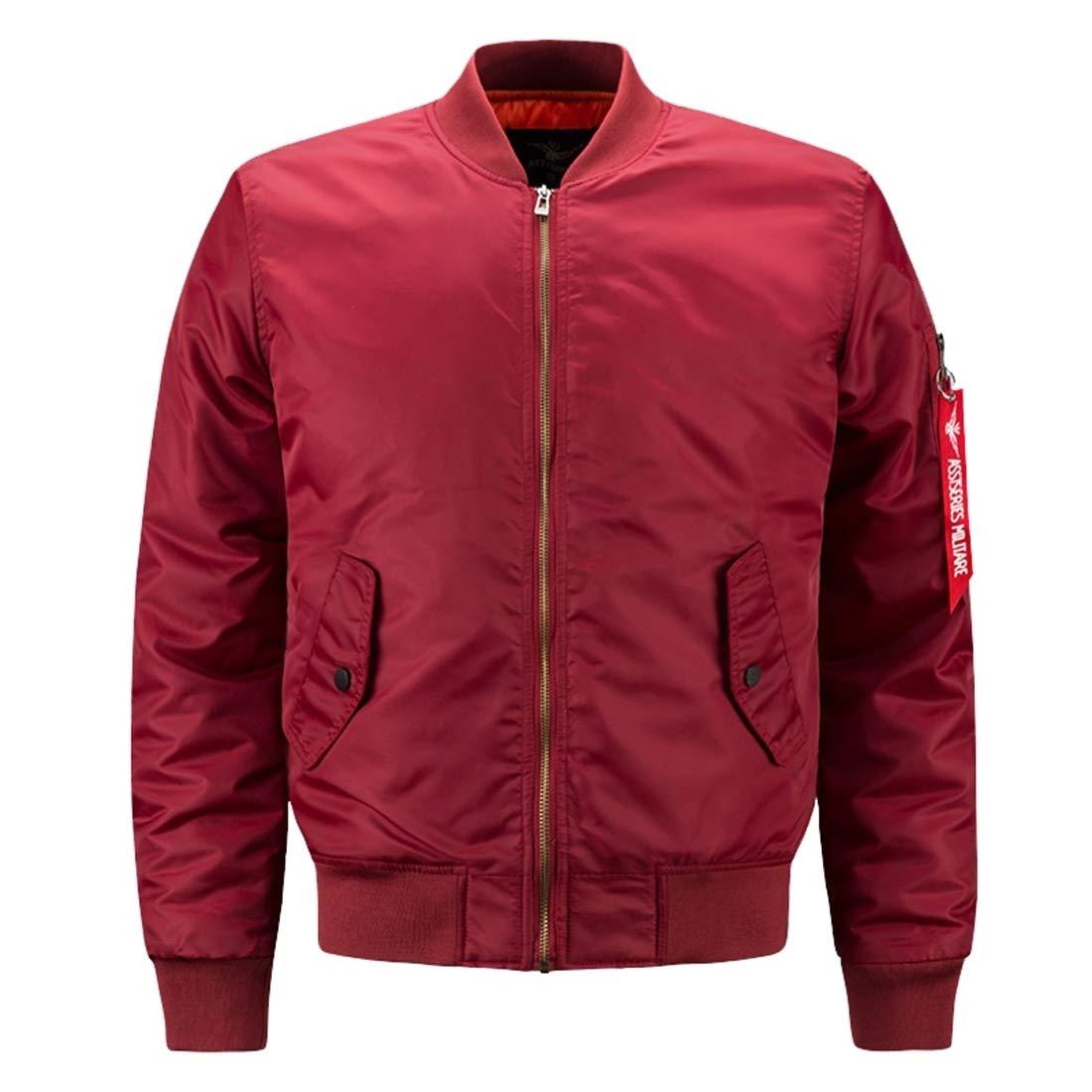 7b7af10f0 Red Men Heavy Flight Bomber Jacket Jacket Jacket Windbreaker Casual ...