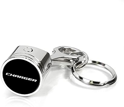Dodge Charger Gunmetal Gray Metal Plate Carbon Fiber Texture Black Leather Key Chain iPick Image for