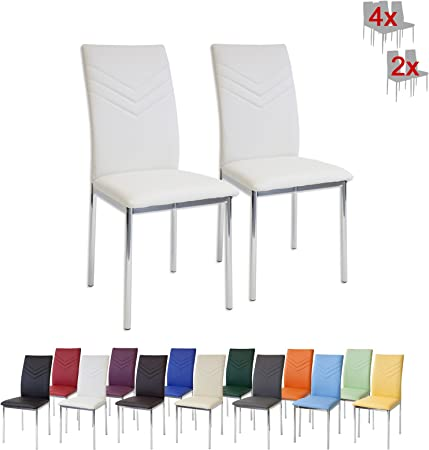 Albatros Verona Lot de 2 chaises, Blanc, Pieds Chrome, SGS Tested