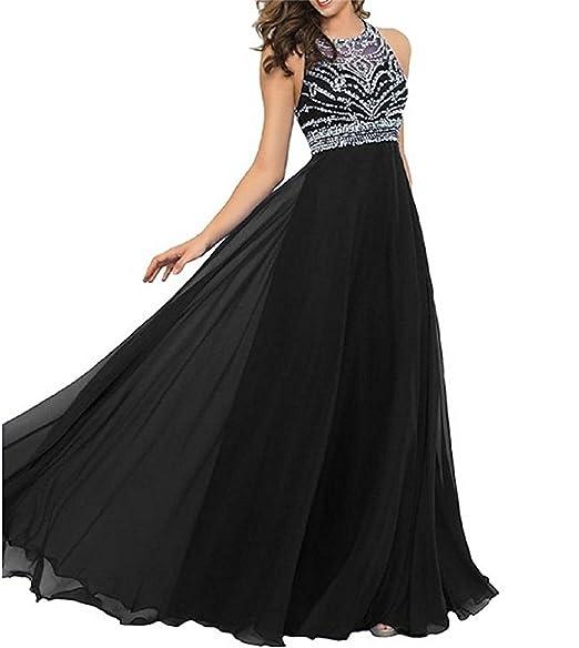XUYUDITA Womens Chiffon Crystal Long Online Floor Length Prom Dresses Black-UK6