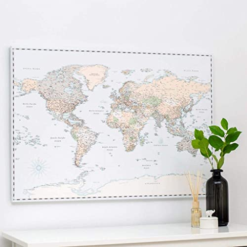 Cartina Geografica Mondo Quadro.Trip Map Planisfero Da Parete Mappa Del Mondo Quadro Su Tela Incorniciato Con 100 Puntine Incluse Cartina Geografica Mondo In Retro Azzurro 3 Dimensioni Idee Per Regali Originali Amazon It Handmade