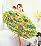 Funny Bath Pool Shower Towel for Kids Cartoon Group of Fun Colorful Canary Bird Family on Oak Branches Animal Illustration Bathroom Towels Multicolor