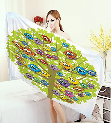 Funny Bath Pool Shower Towel for Kids Cartoon Group of Fun Colorful Canary Bird Family on Oak Branches Animal Illustration Bathroom Towels Multicolor by warmfamily
