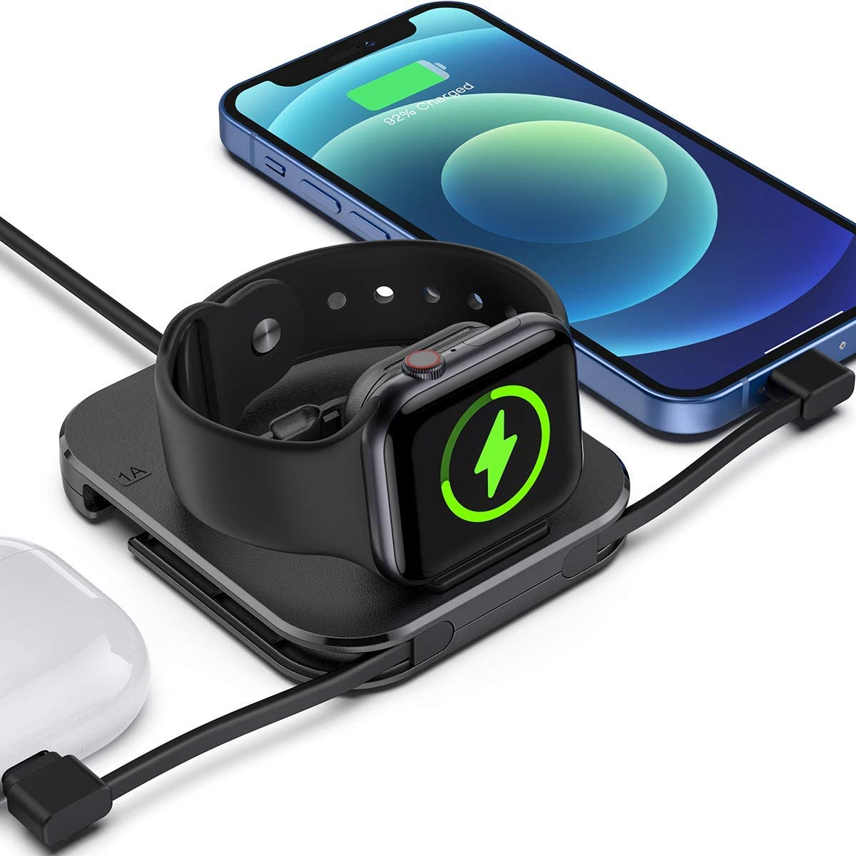 Tinetton Portable Charger Stand for Apple WatchCharger, Magnetic Wireless Watch Charging Stand Dockwith Charging Cable Compatible with Apple Watch SE/6/5/4 iPhone 12/11/8/Pro/Max Airpods/pro/1/2