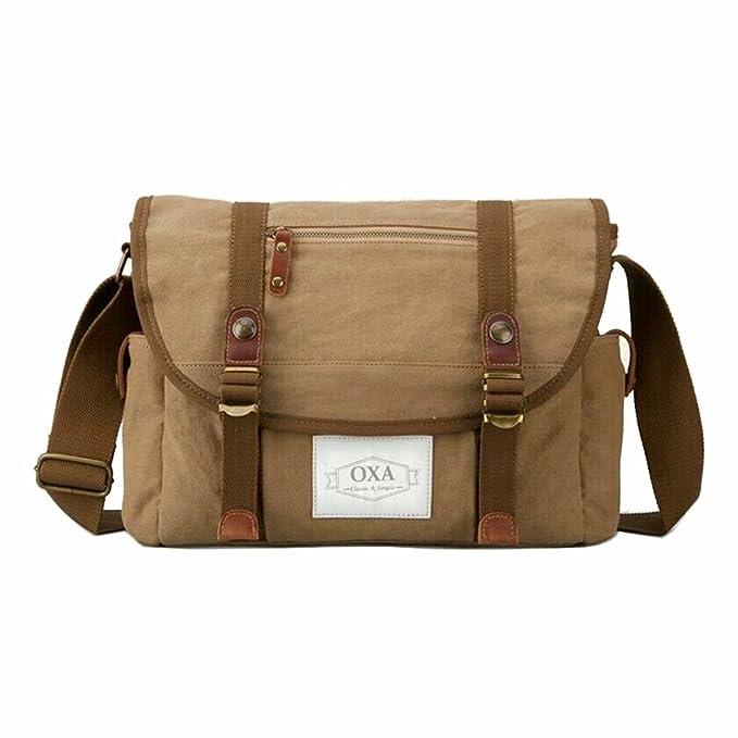 OXA Military Vintage Practical Canvas Messenger Bag Laptop Bag Bookbag  Satchel Crossbody Bag Shoulder Sling Bag 89ac4ee4117f3