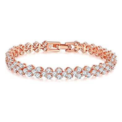 Yazilind Buckle Bracelet Rose Gold Plated Beautiful Color Zircon Armreif Party Jewelry For Women Girls Or4MKfMaNp