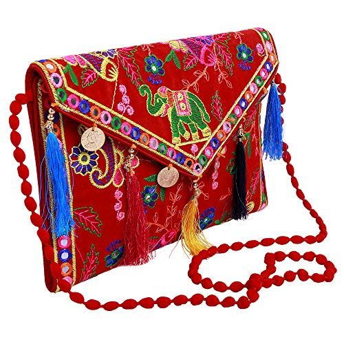 - Lonika Collections Hippie Handmade Elephant Sling Bag Foldover Clutch Purse For Women Red