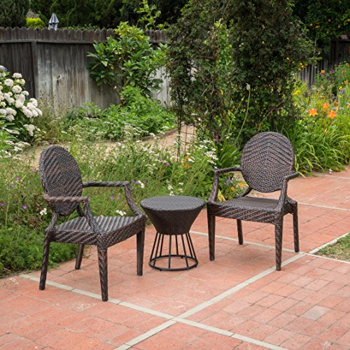 - Anaheim Outdoor 3 Piece Multi-Brown Wicker Stacking Chair Chat Set (Frame Hour Glass Table)
