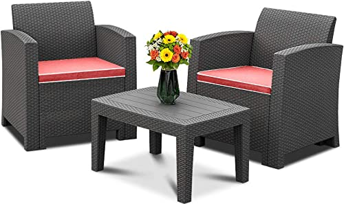 Bonnlo 3pcs Garden Furniture Set with Washable Seat Cushions, Plastic Wicker Pattern Patio Furniture Sets for Outdoor, Indoor, Patio, Backyard, Porch, Poolside Black