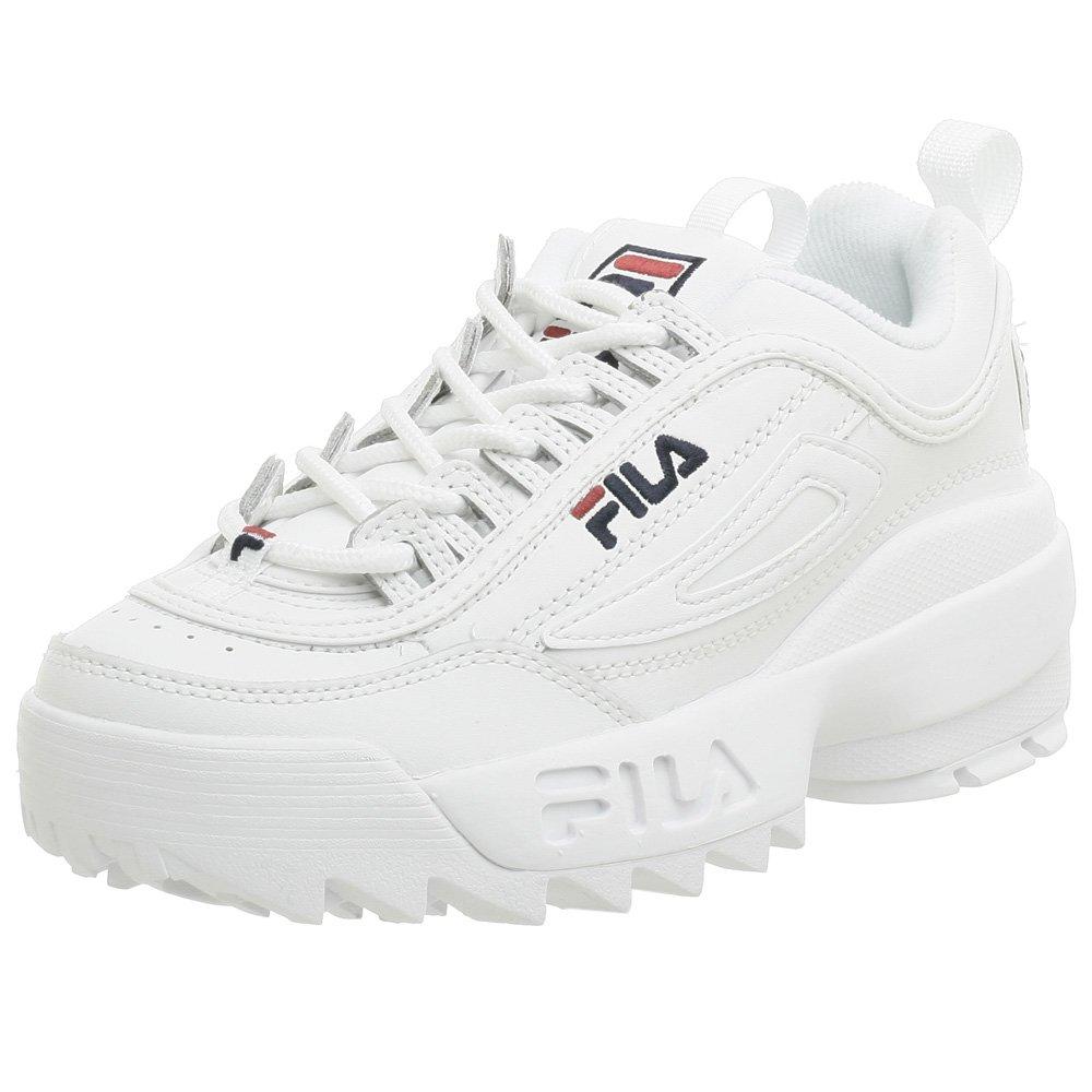 Fila Youth Disruptor II Sneaker,White/Navy/Red,5 M US Big Kid