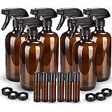 6 Pack Glass Spray Bottle, Wedama Amber 16oz Glass Spray Bottle Set & 6 pack 10ml Essential Oil Roller Bottles for…