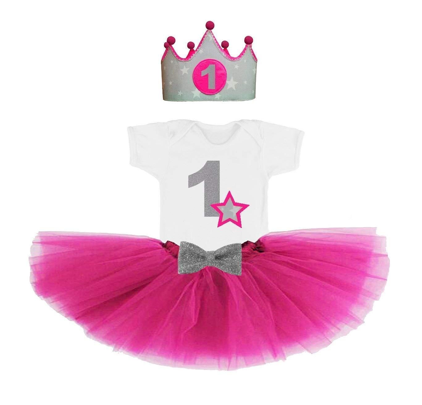 Conjunto primer cumpleañ os 1 añ o para bebes niñ as fucsia (Corona + body o camiseta + tutu)