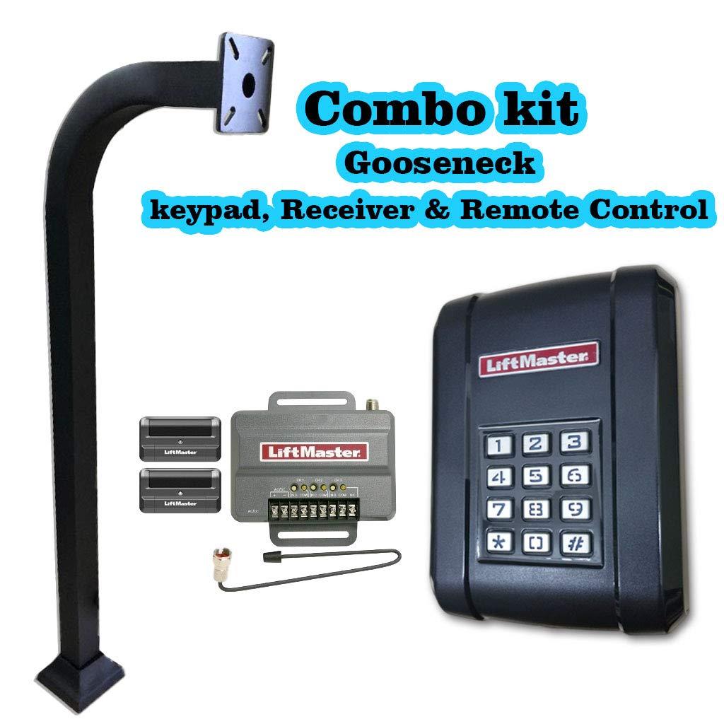 Liftmaster kpw5ゲートアクセス制御キーパッド、受信機、送信機&アルミニウムgoose-neck B076MHD3YN
