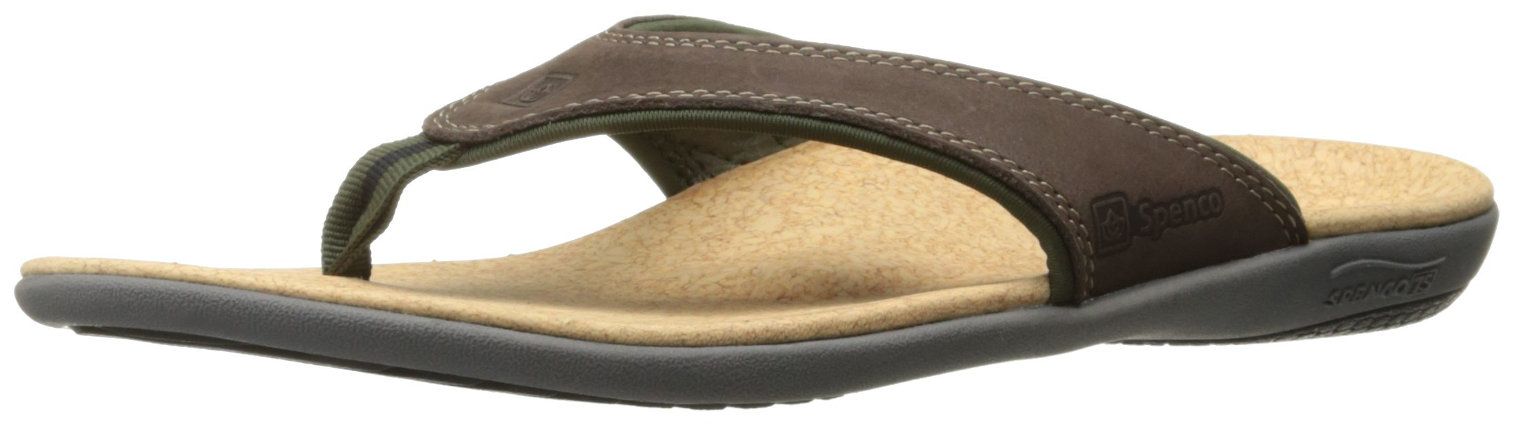 Spenco Men's Yumi Leather Sandal, Dark Brown 7M Medium US