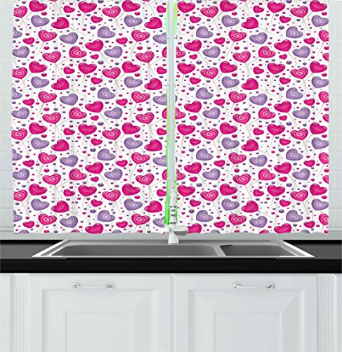 Ambesonne Valentine Kitchen Curtains, Heart Shaped Lollipops