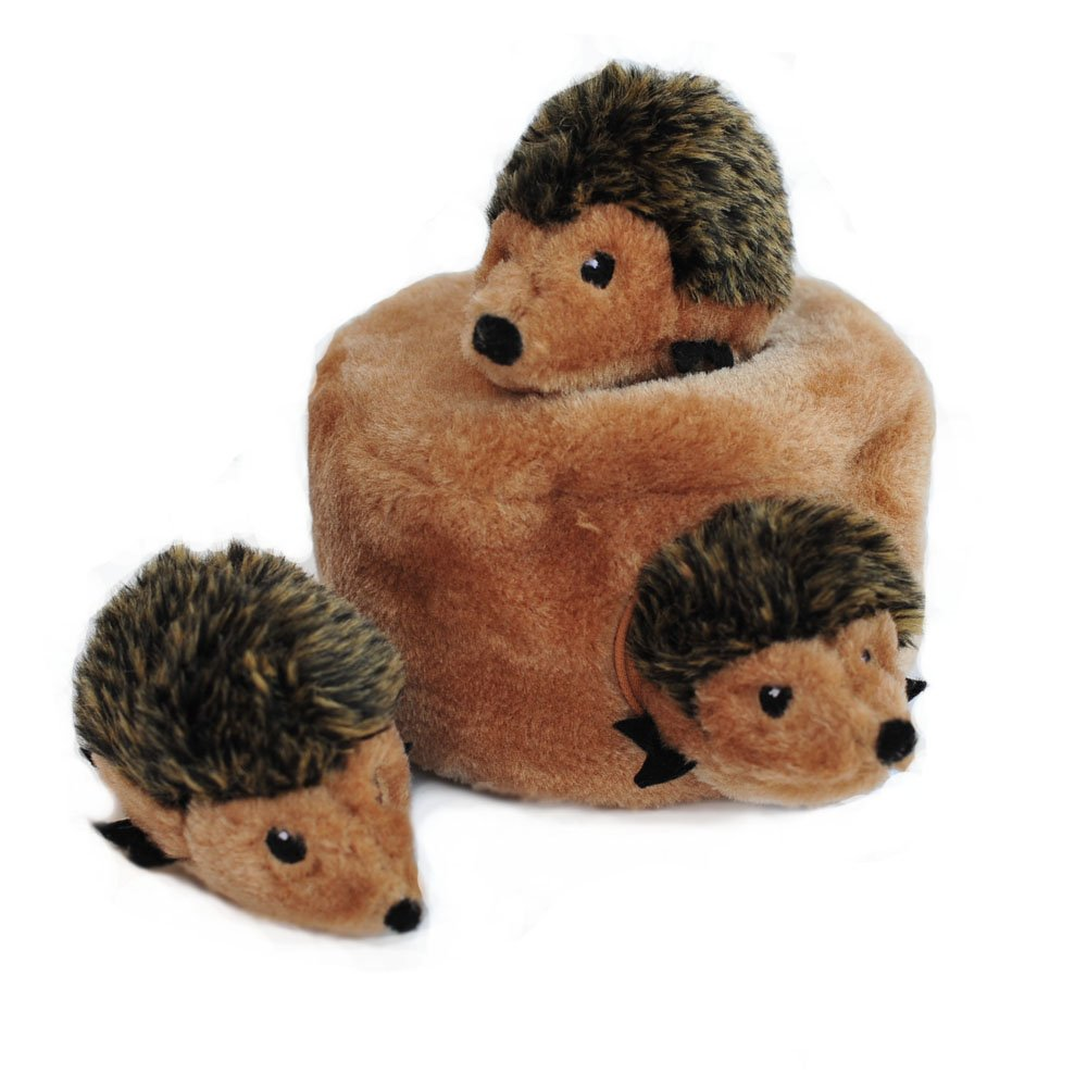 ZippyPaws Burrow Squeaky Hide and Seek Plush Dog Toy Hedgehog Den