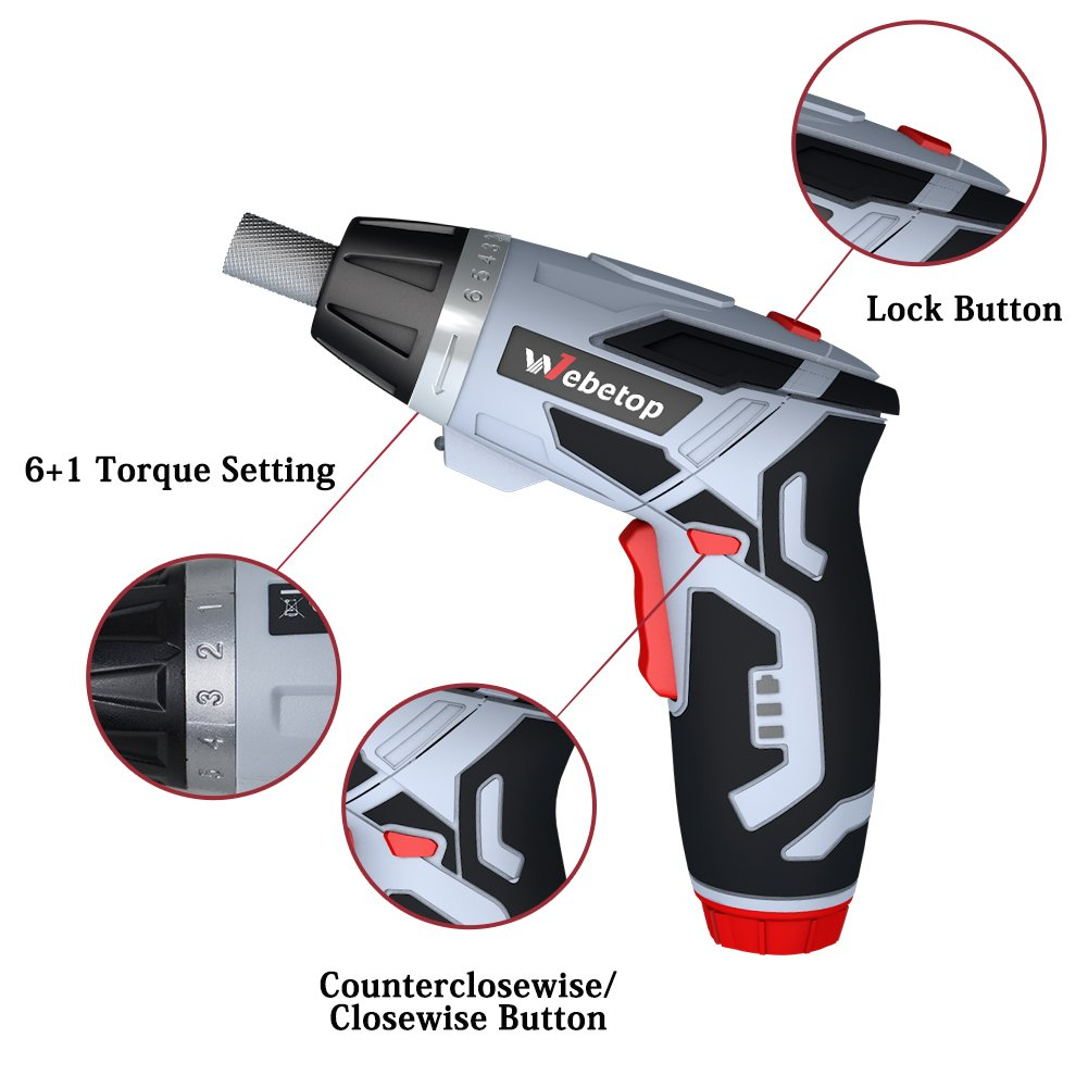Webetop Cordless Drill Driver 3.6 Volt 2000mAh MAX Torque 6 Position Rechargeable 46 Screwdriver Bits in Case USB Charging for Around House Small Jobs with 3 LED Light