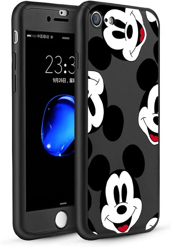 GSPSTORE iPhone 7 Plus//iPhone 8 Plus Case,Mickey Minnie Pattern 360 Full Body Protection Slim Case with Tempered Glass Screen Protector Sling and Ring Holder for Apple iPhone 7 Plus//iPhone 8 Plus #03