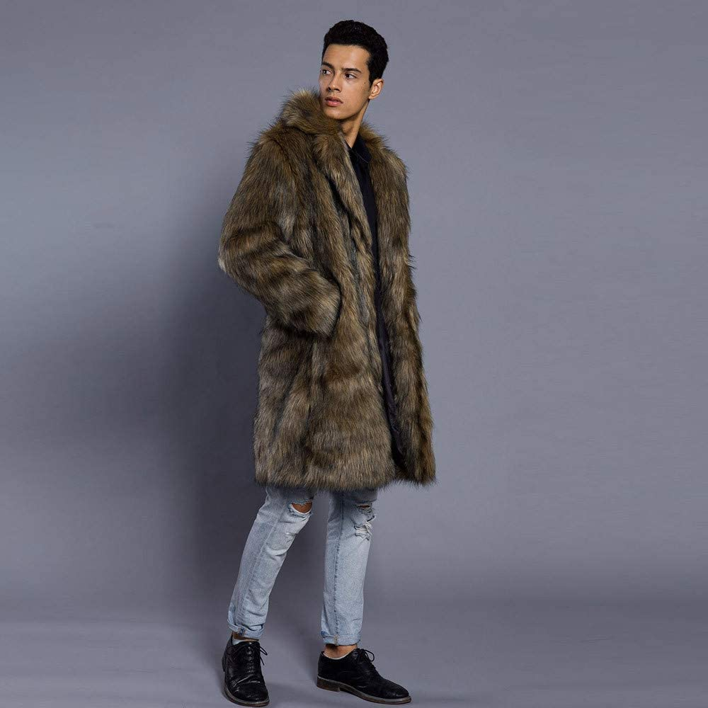 Allywit Mens Super Warm Thick Fake Faux Fur Coat Short Snow Outwears Duffle Jacket