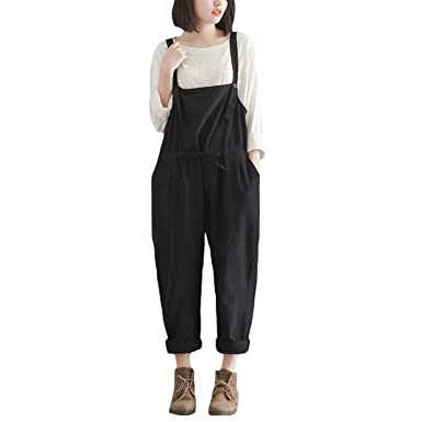 Oacing Women Casual Linen Baggy Overalls Large Size Stretchable Rompers  Wide Leg Pants Jumpsuit Trousers(