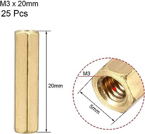 sourcing map Tuerca de acoplamiento hexagonal de lat/ón separador rosca hembra m3x20mm 3 pzas