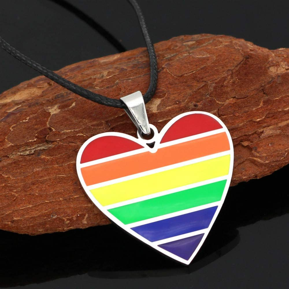 Rainbow Love Necklace Love Pendant Necklace Stainless Steel Rainbow Necklace