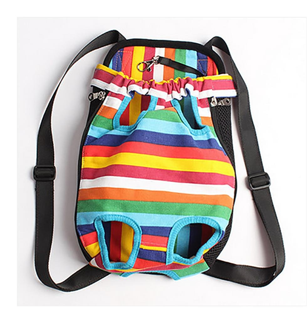Rainbow XL rainbow XL LOHUA Comfortable Legs Out Front Pet Carrier Backpack,Traveling Dog Cat Pet Bag for Hiking Camping with Adjustable Strap