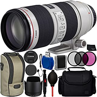 Canon EF 70-200mm f/2.8L IS II USM Lens Bundle with Manufacturer Accessories & Accessory Kit for EOS 7D Mark II, 6D Mark II, 5D Mark IV, 5D S R, 5D S, 5D Mark III, 80D, 70D, 77D, T5, T6, T6s, T7i, SL2