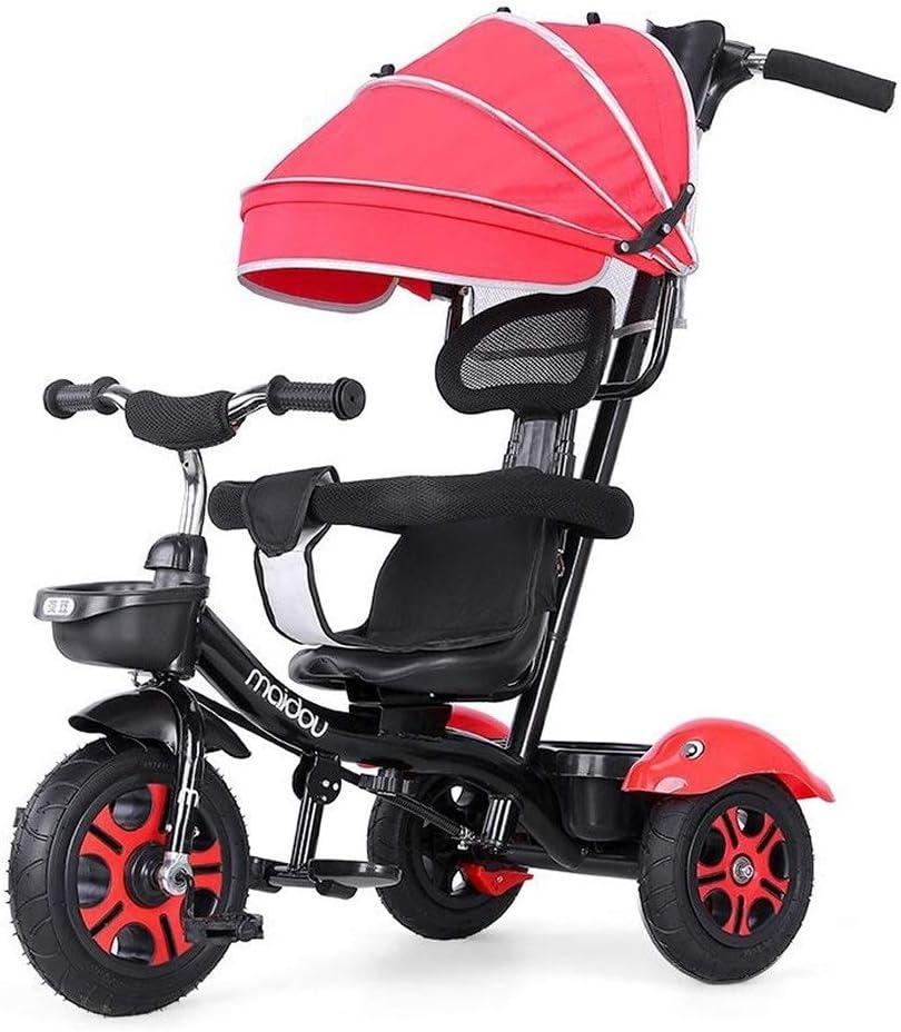 子供三輪車 SONG 幼児用自転車 子供用自転車 ベビートロリー 1-2-3-6歳のベビーカー 光 双方向の実装 (Color : Red)