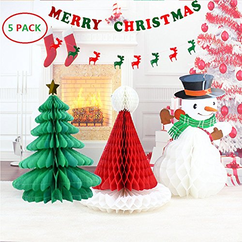 BTSD-home Christmas Decorations Paper Christmas tree Christmas hat snowman Merry Christmas Bunting Banner Flag Christmas Party Decoration( Merry Chritmas Letters+ Elk)]()