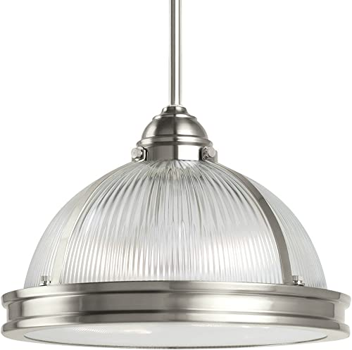 Sea Gull Lighting 65061-962 Pratt Street Prismatic Two-Light Pendant with Clear Textured Glass Diffuser and Clear Ribbed Glass Shade, Brushed Nickel Finish