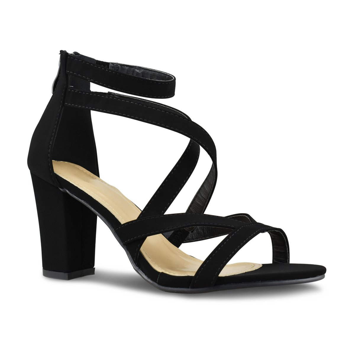 Premier Standard - Womens Strappy Open Toe High Chunky Heel - Sexy Stacked Heel Sandal - Cute Strappy Shoe, TPS Heels-H66 Black Size 10