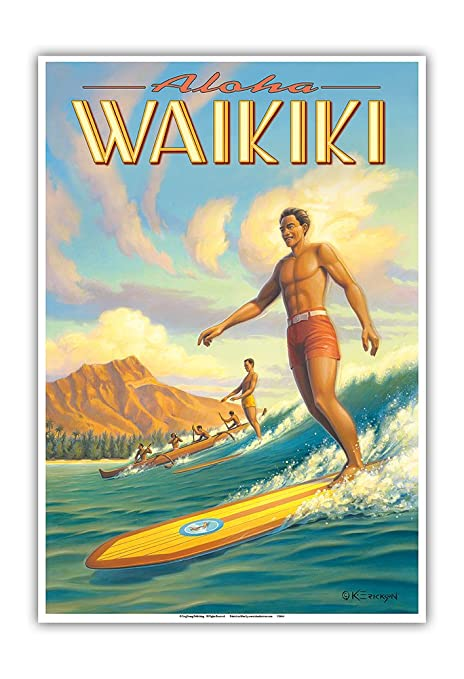 Pacifica Island Art Aloha Waikiki-Surf-Diamond Head-Oahu ...