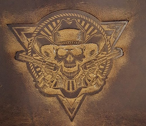 Distressed Embossed Belt (Cowboy Skull with guns Chain Wallet Chrome Oil Tanned Distressed Crazy Horse)
